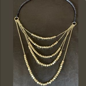 Lucky B. Faceted and Hammered Metal Bead Necklace